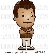 Vector Clip Art of Retro Cartoon Bored or Stubborn Black Boy Standing with Folded Arms by Cory Thoman