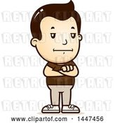 Vector Clip Art of Retro Cartoon Bored or Stubborn White Boy Standing with Folded Arms by Cory Thoman