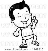 Vector Clip Art of Retro Cartoon Boy in Shorts, Doing a Happy Dance by Cory Thoman