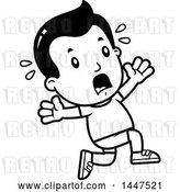 Vector Clip Art of Retro Cartoon Boy in Shorts, Running Scared by Cory Thoman