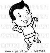 Vector Clip Art of Retro Cartoon Boy Jumping in Shorts by Cory Thoman