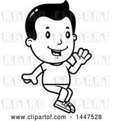 Vector Clip Art of Retro Cartoon Boy Sitting and Waving in Shorts by Cory Thoman