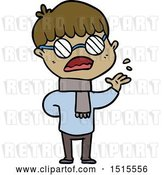 Vector Clip Art of Retro Cartoon Boy Wearing Spectacles by Lineartestpilot