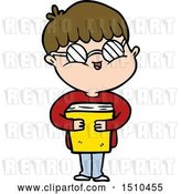 Vector Clip Art of Retro Cartoon Boy Wearing Spectacles Carrying Book by Lineartestpilot