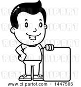Vector Clip Art of Retro Cartoon Boy with a Blank Sign by Cory Thoman