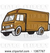 Vector Clip Art of Retro Cartoon Brown Delivery Van by Patrimonio