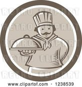 Vector Clip Art of Retro Cartoon Brown Woodcut Chef Holding out a Cloche Platter in a Circle by Patrimonio