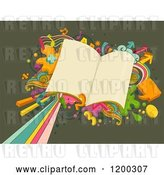 Vector Clip Art of Retro Cartoon Burst and School Books on Green by BNP Design Studio