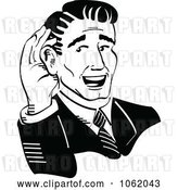 Vector Clip Art of Retro Cartoon Business Man Cupping His Ear by Andy Nortnik