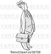 Vector Clip Art of Retro Cartoon Business Man Looking up by Picsburg