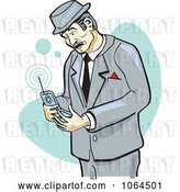 Vector Clip Art of Retro Cartoon Business Man Using a Cell Phone by Andy Nortnik