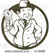 Vector Clip Art of Retro Cartoon Businessman Wearing a Fedora Hat and Holding Cash Money in a Cricle by Patrimonio