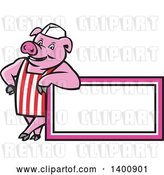 Vector Clip Art of Retro Cartoon Butcher Pig Leaning on a Blank Sign by Patrimonio