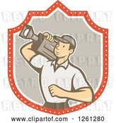 Vector Clip Art of Retro Cartoon Cameraman Filming in a Shield by Patrimonio