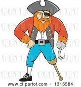 Vector Clip Art of Retro Cartoon Captain Pirate with a Peg Leg and Hook Hand by Patrimonio