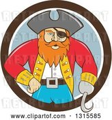 Vector Clip Art of Retro Cartoon Captain Pirate with a Peg Leg and Hook Hand, Emerging from a Brown White and Gray Circle by Patrimonio