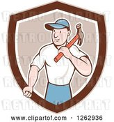 Vector Clip Art of Retro Cartoon Carpenter with a Hammer in a Brown and White Shield by Patrimonio