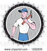 Vector Clip Art of Retro Cartoon Carpenter with a Hammer in a Gray White and Black Circle by Patrimonio