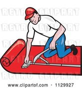 Vector Clip Art of Retro Cartoon Carpet Layer Worker by Patrimonio