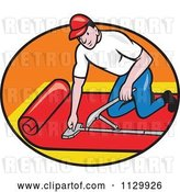 Vector Clip Art of Retro Cartoon Carpet Layer Worker in an Oval by Patrimonio