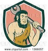 Vector Clip Art of Retro Cartoon Caveman Mechanic Holding a Giant Spanner Wrench over His Shoulder in a Shield by Patrimonio