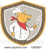 Vector Clip Art of Retro Cartoon Chef Pig Holding a Spatula in a Yellow Brown and Taupe Shield by Patrimonio