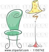Vector Clip Art of Retro Cartoon Chic Green Chair and Polka Dot Lamp by BNP Design Studio