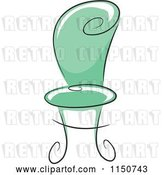 Vector Clip Art of Retro Cartoon Chic Green Chair by BNP Design Studio