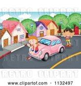 Vector Clip Art of Retro Cartoon Children with a Pink Slug Bug Car by Graphics RF