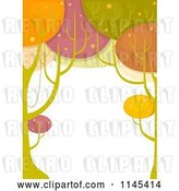 Vector Clip Art of Retro Cartoon Colorful Tree Border by BNP Design Studio