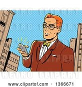 Vector Clip Art of Retro Cartoon Comic Styled Bespectacled Red Haired White Guy Holding a Ringing Smart Phone in a City by Clip Art Mascots
