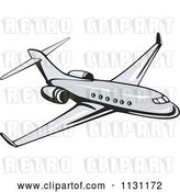 Vector Clip Art of Retro Cartoon Commercial Airliner Plane by Patrimonio