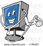 Vector Clip Art of Retro Cartoon Computer Monitor Mascot Holding a Diagnostics Stethoscope by Patrimonio