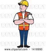 Vector Clip Art of Retro Cartoon Construction Worker Holding a Hammer in Folded Arms by Patrimonio