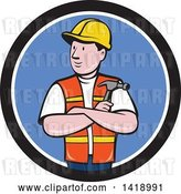Vector Clip Art of Retro Cartoon Construction Worker Holding a Hammer in Folded Arms in a Black White and Blue Circle by Patrimonio