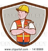 Vector Clip Art of Retro Cartoon Construction Worker Holding a Hammer in Folded Arms in a Shield by Patrimonio