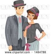 Vector Clip Art of Retro Cartoon Couple Dressed in Roaring Twenties Outfits by BNP Design Studio