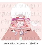 Vector Clip Art of Retro Cartoon Couple Driving Away in a Pink VW Slug Bug Wedding Car with a Just Married Sign by Pushkin