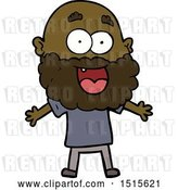 Vector Clip Art of Retro Cartoon Crazy Happy Guy with Beard by Lineartestpilot