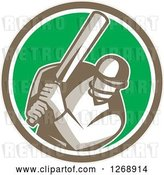 Vector Clip Art of Retro Cartoon Cricket Batsman Player in a Brown White and Green Circle by Patrimonio