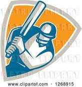 Vector Clip Art of Retro Cartoon Cricket Batsman Player in a Taupe White and Orange Shield by Patrimonio