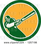 Vector Clip Art of Retro Cartoon Cricket Batsman Player Swinging in a Blue White and Yellow Circle by Patrimonio