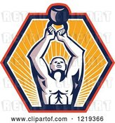 Vector Clip Art of Retro Cartoon Crossfit Bodybuilder Lifting a Kettlebell in a Sunny Hexagon by Patrimonio