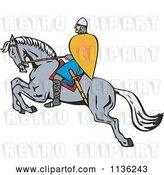 Vector Clip Art of Retro Cartoon Crusader on a Leaping Horse by Patrimonio