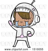 Vector Clip Art of Retro Cartoon Crying Astronaut Girl by Lineartestpilot