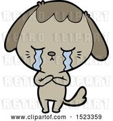 Vector Clip Art of Retro Cartoon Crying Dog by Lineartestpilot