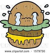 August 14th, 2018: Vector Clip Art of Retro Cartoon Crying Fast Food Burger by Lineartestpilot