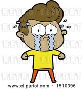 Vector Clip Art of Retro Cartoon Crying Guy by Lineartestpilot