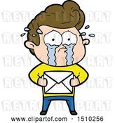 Vector Clip Art of Retro Cartoon Crying Guy Receiving Letter by Lineartestpilot