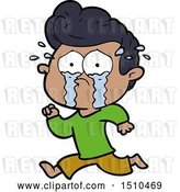 Vector Clip Art of Retro Cartoon Crying Guy Running by Lineartestpilot